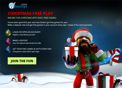 Free games Christmas Promotion at Winnings.com